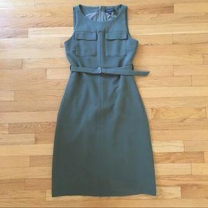 Banana Republic olive green belted sheath dress